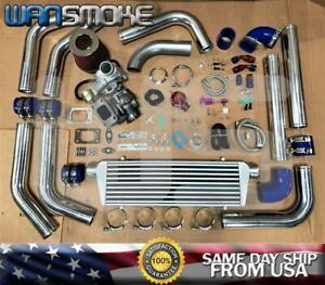 T3/T4 TURBO CHARGER KIT .63 V-BAND UNIVERSAL DOWNPIPE INTERCOOLER+BOV+CLAMP BLUE