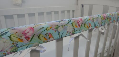 Floral Cot Rail Cover Mint Tulip Bouquet Crib Teething Pad   x 1