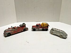 Diecast-Metal-Trucks-Hubbley-Tootsietoy-Cement-Mixer-Texaco-Tanker-Fire-Pumper
