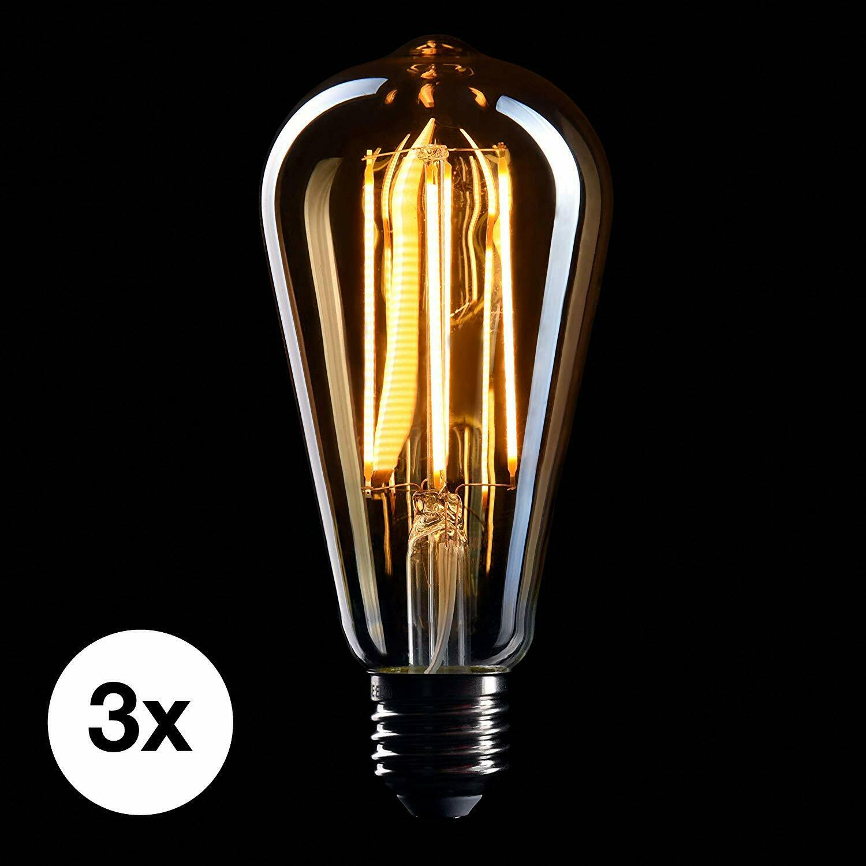 CROWN LED 3 x Edison Glühbirne E27 Fassung, Dimmbar, 5W, 2200K, Warmweiß, 230V
