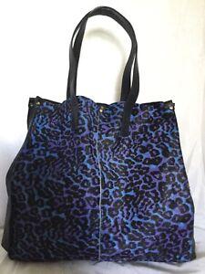 Large-BOCAGE-Fur-Leather-Tote-Shoulder-Bag-Handbag