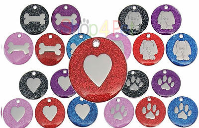 Pet ID Tags, Quality 25mm Reflective Glitter Tag, 17 Colours -Engraving Options
