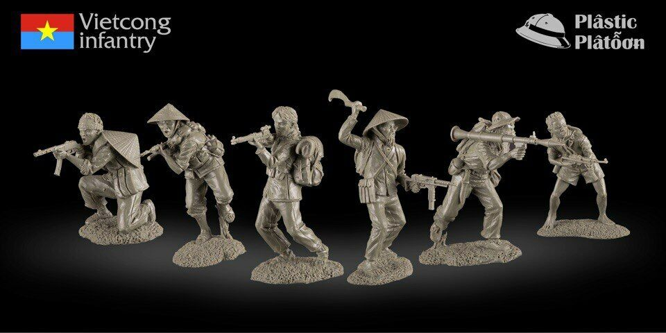 Plastic Platoon Toy Soldier Vietnam War Vietcong Infantry 1 32 54mm