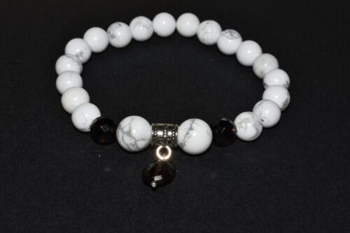 Smoky Quartz Howlite Bracelet Stress Anxiety Relief Reiki Crystal Healing Duo