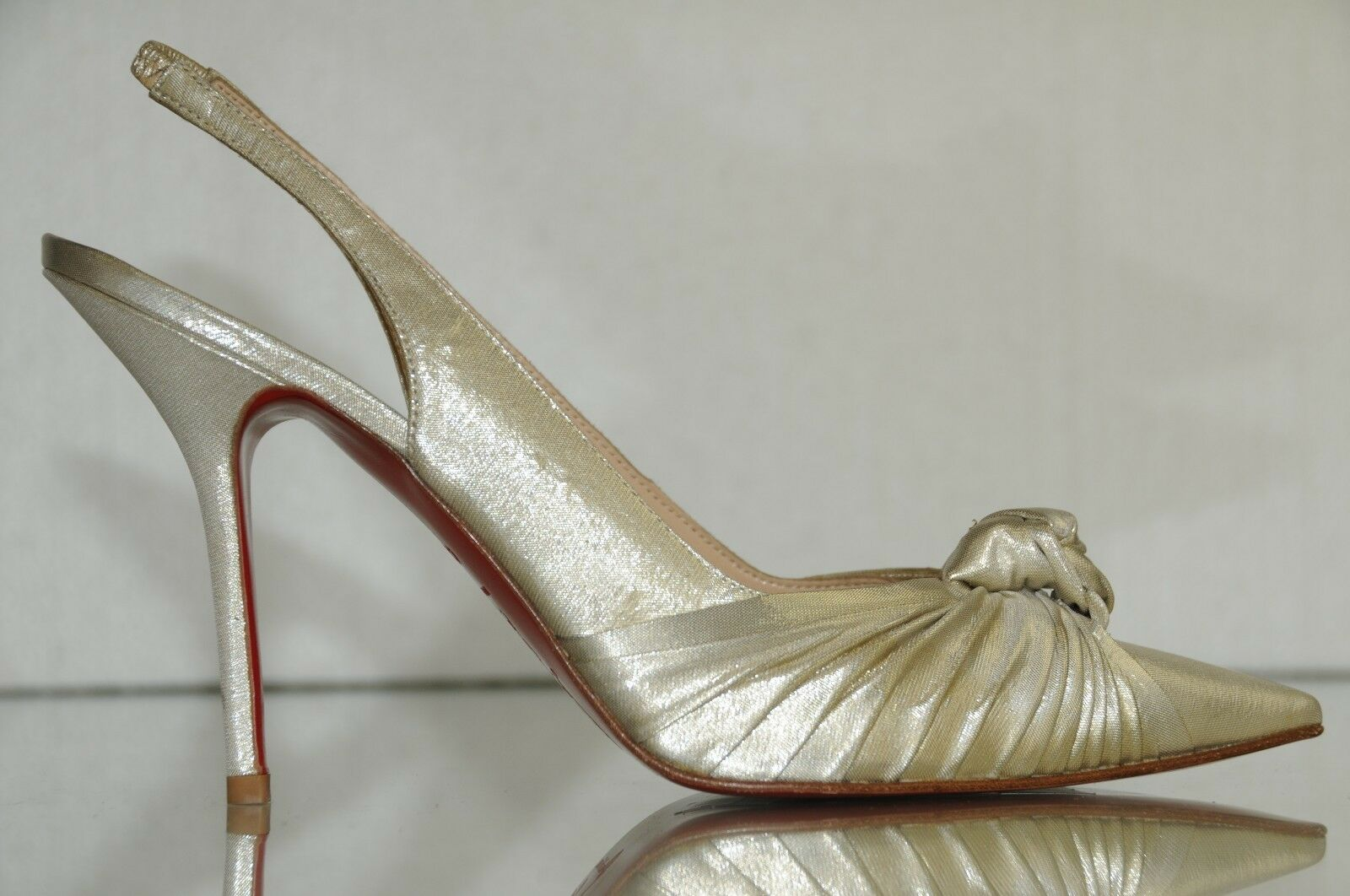New Christian Louboutin Francaise Lurex Lame Platine Silver Heels Shoes Wedding