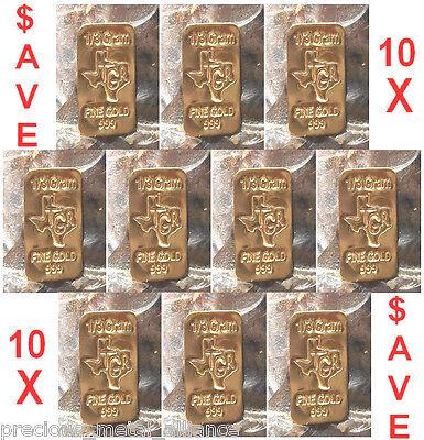 GOLD 24K PURE BULLION 10  BARS of one third GRAM 999 FINE INGOT LOT SAVE SAVE !!