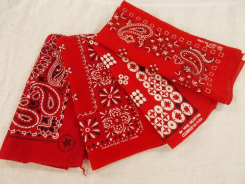 USA LOT of 4 Vtg Antique FAST COLOR COLORFAST RED