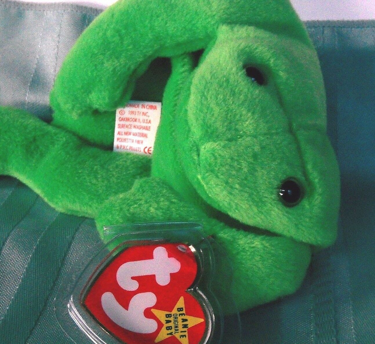 Ty Legs FROG 1993 Orig Beanie BabiesPVC pellets, Collectors No inside tush tag