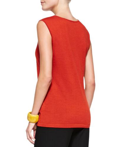 $178 Eileen Fisher Fine Merino Jersey Mandarin Jewel Neck Muscle Tee Shell Tank