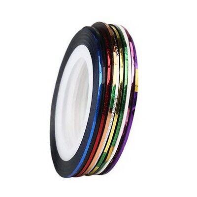 10 Roll Mix Color Nail Art Lace Line Strips Design Decoration For Gel Polish
