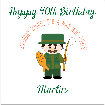 Personalised birthday card fisherman fishing 40th 50th 60th any name//message//age