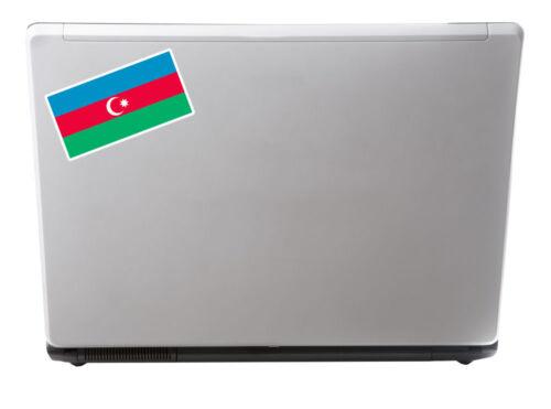 2 x Azerbaijan Flag Vinyl Sticker iPad Laptop Car Travel Luggage Tag Gift #4410