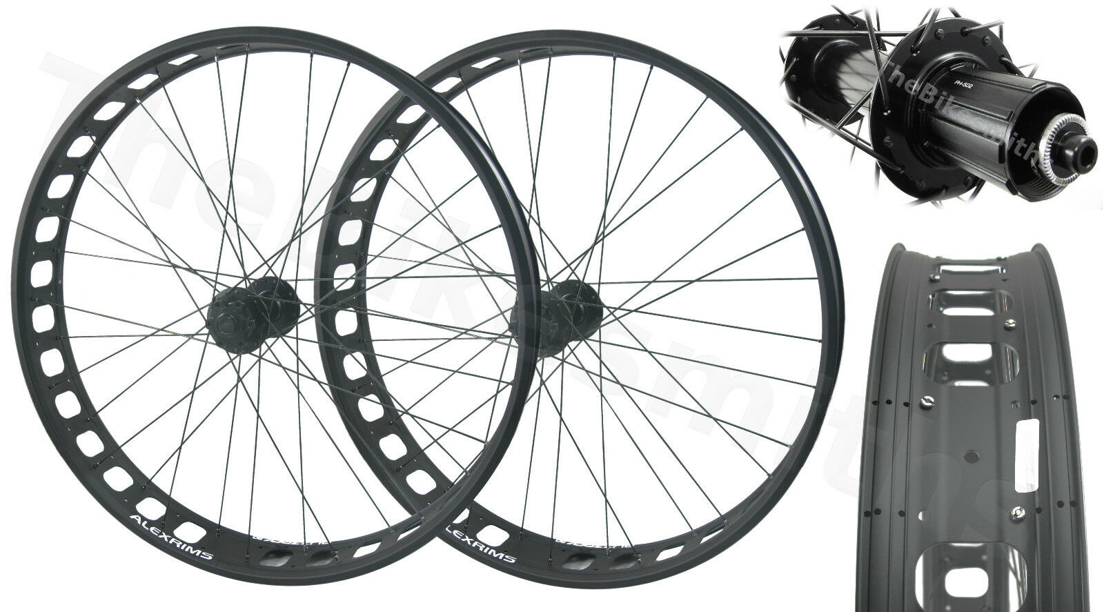 Alex Blizzerk 90 Tubeless Fat Bike Wheelset 150mm Thru-Axle Front  190mm QR Rear