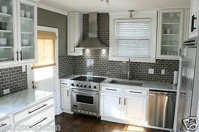 London Metro Midnight Grey Gloss Bevelled Kitchen Wall Tiles 10 X 20cm Ebay