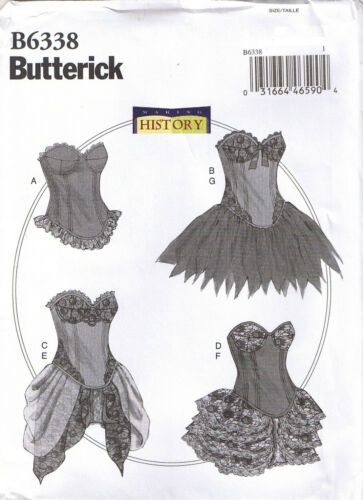 Historical Boned Curved Hem Corsets Skirts Costume Sewing Pattern 6 8 10 12 14