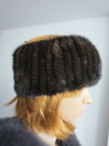 Braid 100% Genuine mink fur headband/ collar / wrap / s