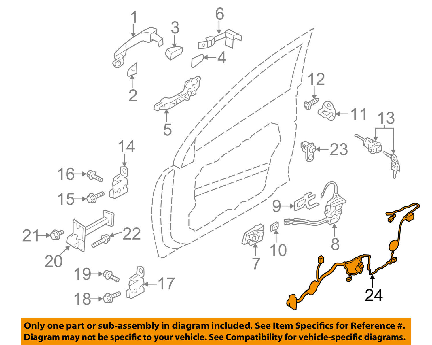 Hyundai Sonata Front Left Lh Door Wire Wiring Harness Oem 2011 2015 Diagram Norton Secured Powered By Verisign