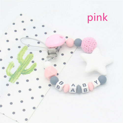 Infant Non-toxic Chew Toy Baby Teething Pacifier Chain Soother Dummy Clips