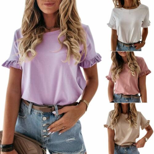 UK Women/'s Ladies Frill Ruffle Short Sleeve Fashion Summer Tee T-Shirt Loose Top