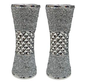 2x Stylish Silver Flower Vase Crystal Ceramic Vase Textured Home Décor 20cm