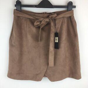 Womens-River-Island-Beige-Moleskin-Tie-Waist-Mini-Skirt-New-With-Tags-UK-Size-14