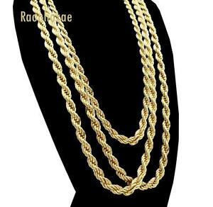 Men-Stainless-Steel-14k-Gold-Plated-3-to7mm-wide-20-034-24-034-30-034-Rope-Chain-Necklace