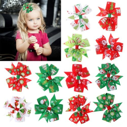 12Pcs Xmas Christmas Bowknot Hairpin Hair Bow Clips Barrette For Kids Baby Girls