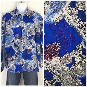 Vintage-90s-Thai-Silk-Shirt-Baroque-Superfly-OG-Button-Front-Greek-Print-XL