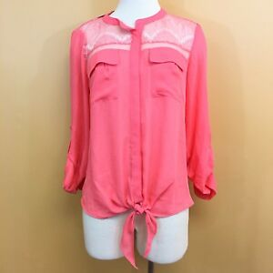 4c2c75914fc Details about NWT Candie's Coral Button Up Tie Front Blouse Women's L Large