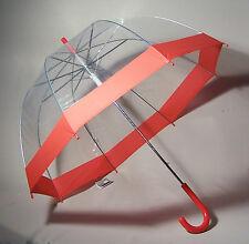 Regenschirm durchsichtig/transparent Glockenschirm rot Automatik - DHL Versand