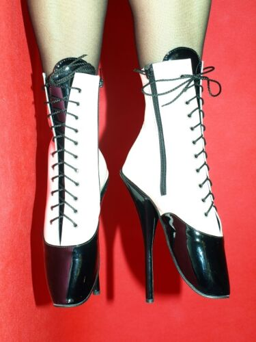 FS1136 PATENT LEATHER WHITE/&BLACK BALLET BOOTIES SIZE 10-16 HEELS 8,4/'-21CM