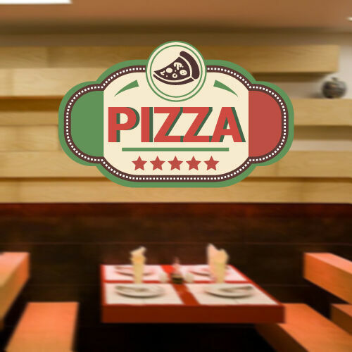 Full Color Wall Decal Pizza Italian restaurant pizzeria signboard cafe mcol22