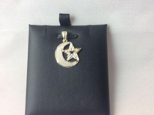 Real 10K Yellow Gold Moon /& Star Pendant Charm Piece in Diamond Cut Design 1.80g