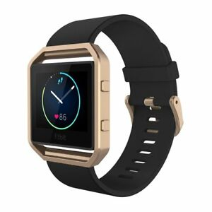 Armband-mit-Rahmen-fur-Fitbit-Blaze-Simpeak-Silikon-Ersatz-Band-mit-Schwarz