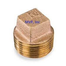 1″ Lead-Free Brass Pipe Plug 125# Threaded Square Head SOLID Plug <BR150621
