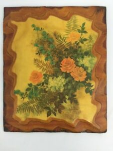 Wall-Art-Plaque-Kitchy-Shabby-Victorian-Chic-Flowers-Wood-Primitive-Handmade