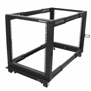 Startech-com-12u-Adjustable-Depth-Open-Frame-4-Post-Server-Rack-W-Casters