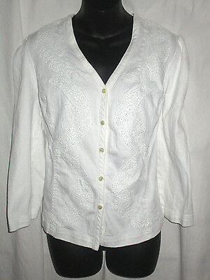 Chaps Womens White Stretch  Denim Long Sleeve Button Down Shirt Top Casual XL
