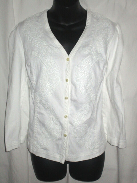 Chaps Womens White Stretch  Denim Long Sleeve Button Down Shirt Top Casual XL