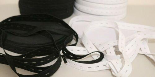 WHITE BUTTONHOLE ELASTIC 3//4/'/' 10 YARDS BLACK