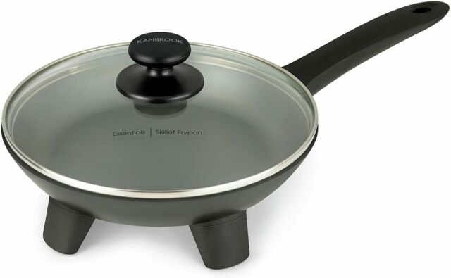 Kambrook 24cm Electric Die-Cast Non-Stick Skillet Frypan Glass Lid/Pancake Maker