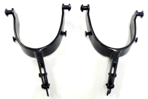 Bull Riding Spurs 22-1//2 Degree Offset Black Steel New Free Shipping
