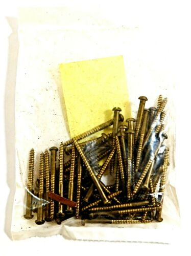 """#8 x 2/"""" Brass Wood Screws with Slotted Drive /& Round Head50 per Pack"""