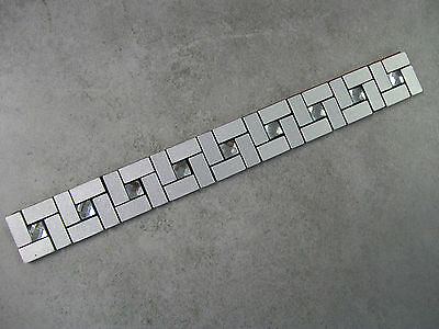 15 x BRUSHED ALUMINIUM + GLASS JEWEL - PEEL & STICK MOSAIC BORDER TILES