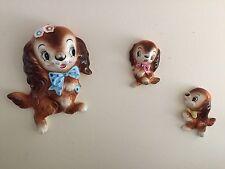 RARE Vintage SPANIEL Dog MOM & PUPPIES Ceramic WALL PLAQUES 3 Piece Set PY Miyao