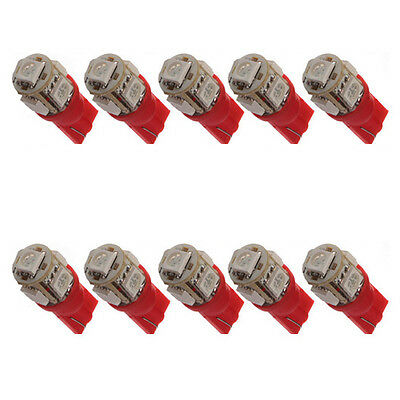 10X T10 194 168 147  W5W 5 SMD 5050 Red LED Car Wedge Tail Side  Lamp Bulb 12V