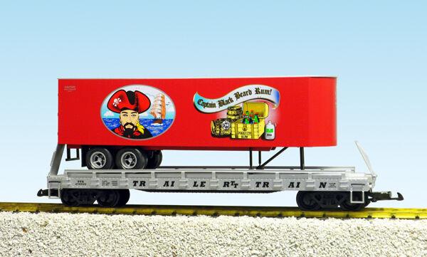 USA Trains G Escala Plana Coche con remolque R17038 Pirata Brew – Rojo Con Plata Carro
