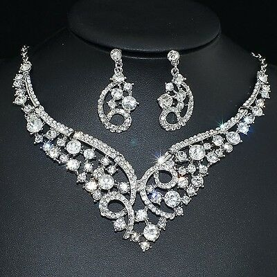 YT255 Clear Rhinestone Crystal Earrings Necklace Set Bridal Party Gift