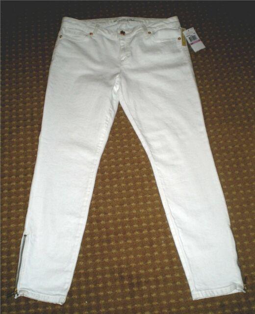 Michael Kors 8 White Jeans SKINNY Ankle ZIPPER Gold Stud Logo Rivets ... a88d68062