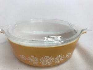 Pyrex-1PT-Vintage-USA-471-w-Lid-Mustard-Yellowish-Color-Gently-Used